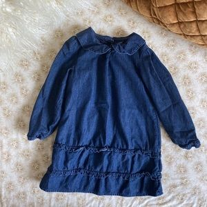 Baby Gap | pater pan collar ruffle denim dress